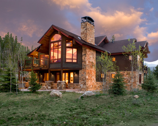 Awesome Mountain Homes Exteriors Design Stone Fireplace